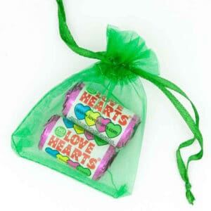 Organza Bag Green Love Hearts