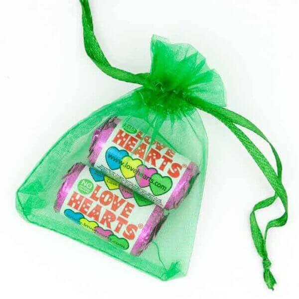 Organza Bag Green Love Hearts