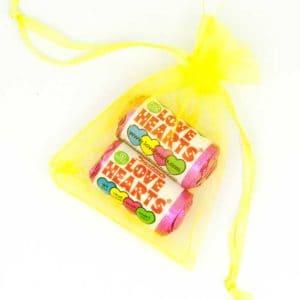 Organza Bag Yellow Love Hearts